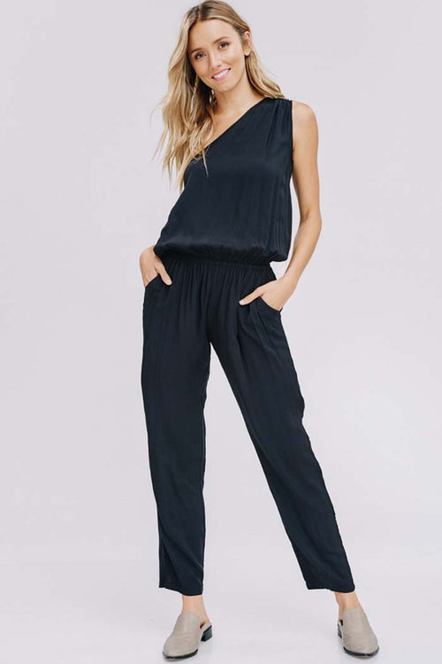 Briana Shoulder Point Jumpsuits : Black