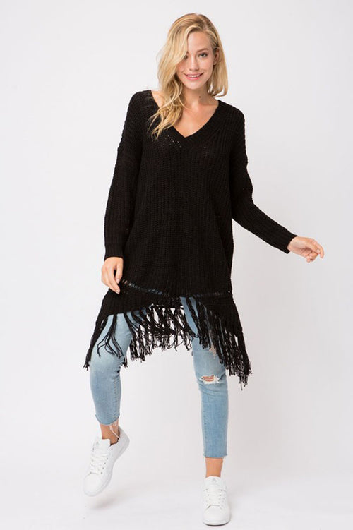 Brooke Chunky Knit Sweater Dress : Black