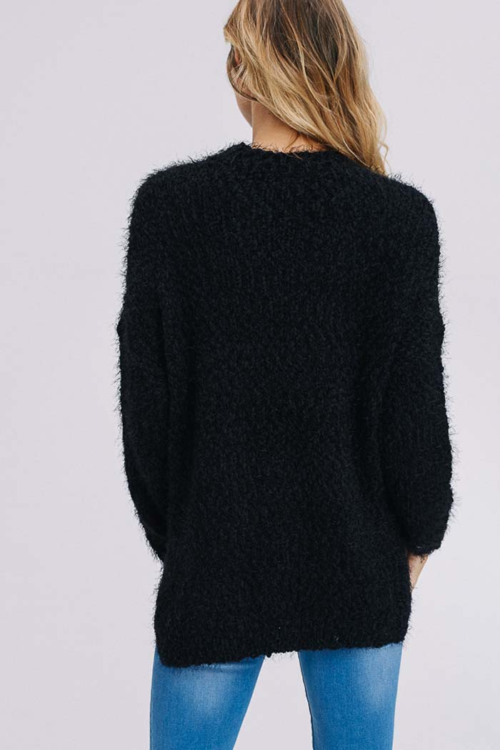 Brooke Sweater Tunic Top : Black