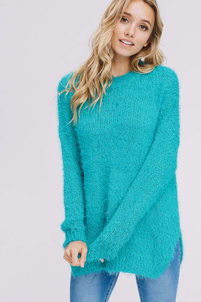 Brooke Sweater Tunic Top : Sage