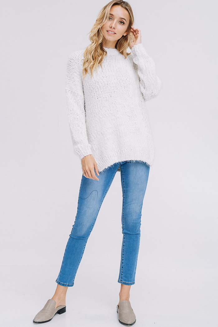 Brooke Sweater Tunic Top : Cream