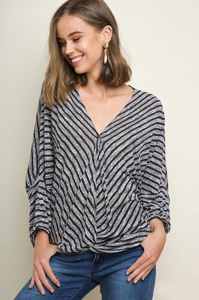 Caitlyn Striped Gathered Surplice Top : Dusty Teal