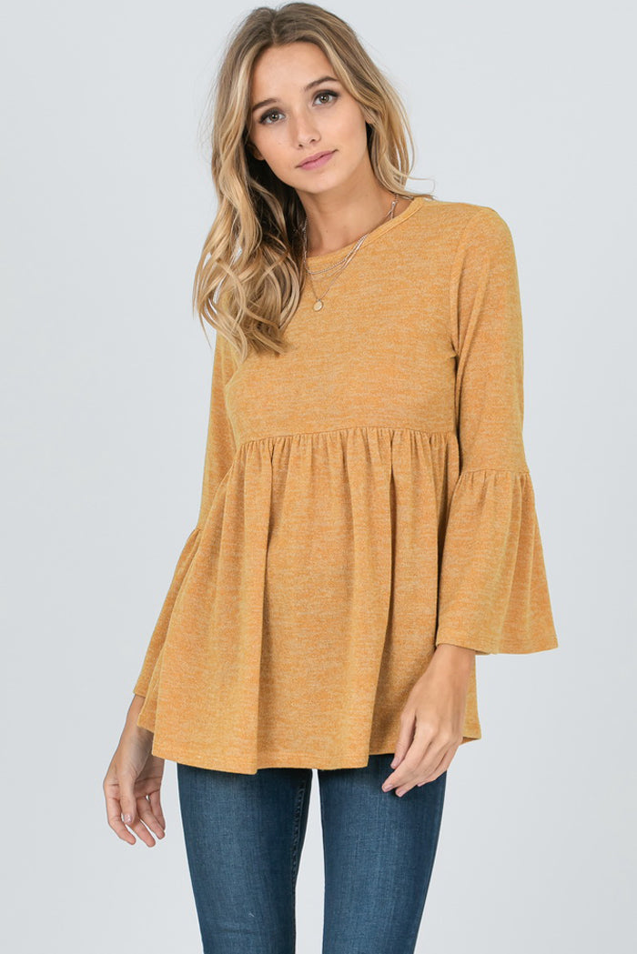 Camille Bell Sleeves Babydoll Tunic Top : Hunter Green