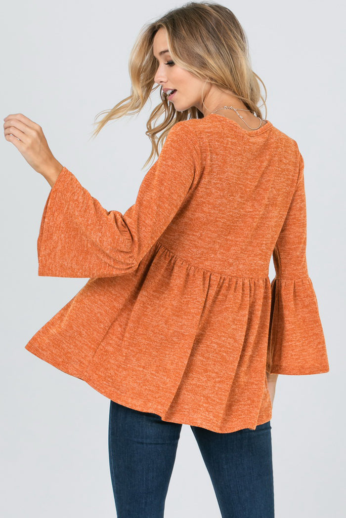 Camille Bell Sleeves Babydoll Tunic Top : Rust