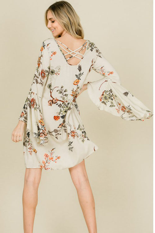 Caroline Crepe Cross Back Floral Dress : Cream