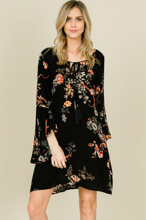 Caroline Crepe Cross Back Floral Dress : Black
