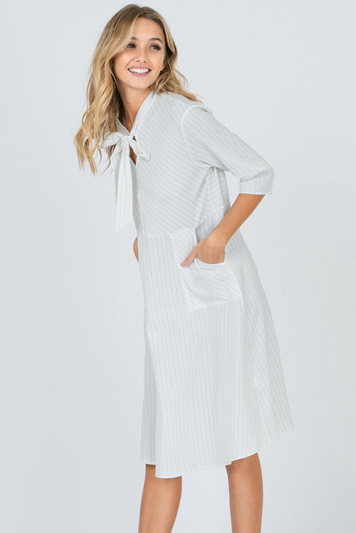 Catherine Ribbon Tie Neck Stripe Dress : Ivory
