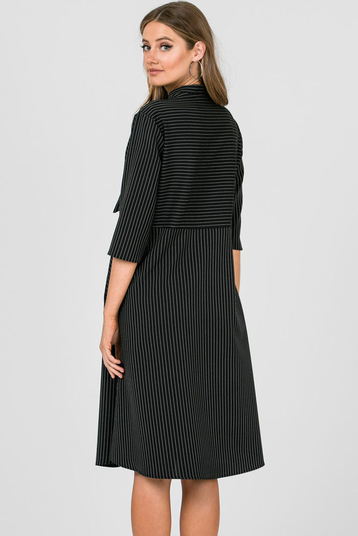 Catherine Ribbon Tie Neck Stripe Dress : Black
