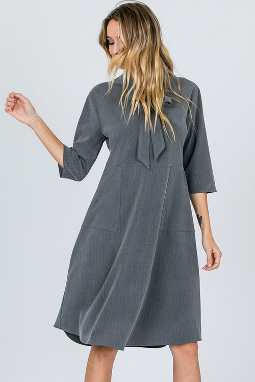 Catherine Ribbon Tie Neck Stripe Dress : Grey