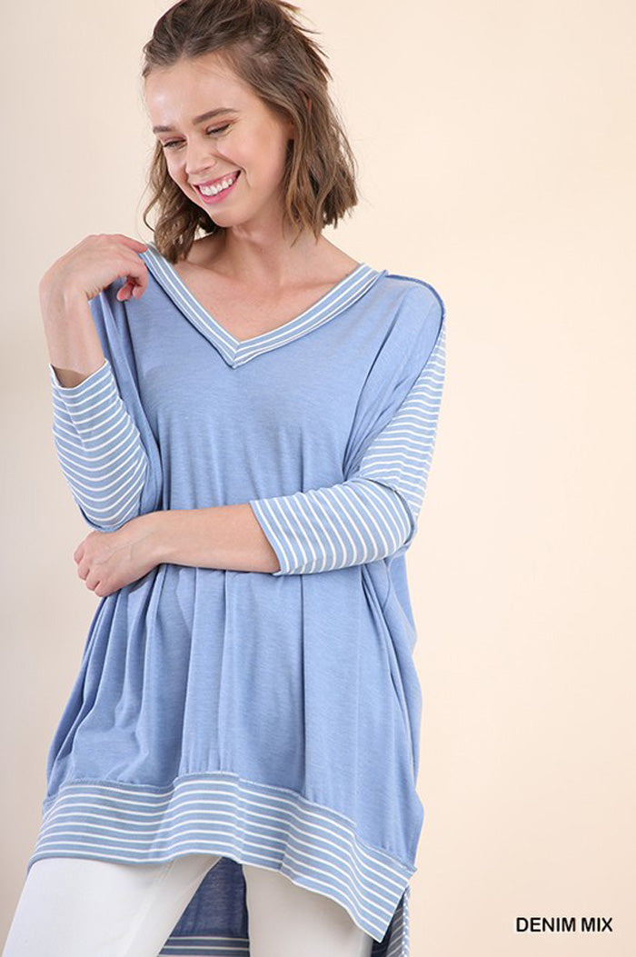 Charlee Stripe Loose Top : Denim