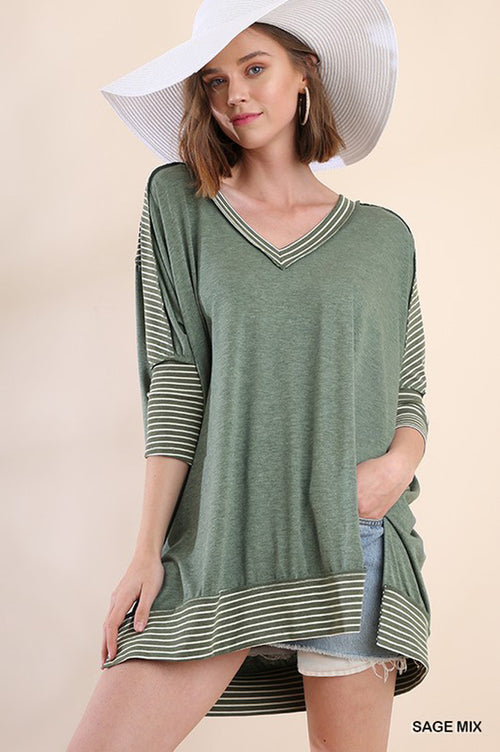 Charlee Stripe Loose Top : Sage