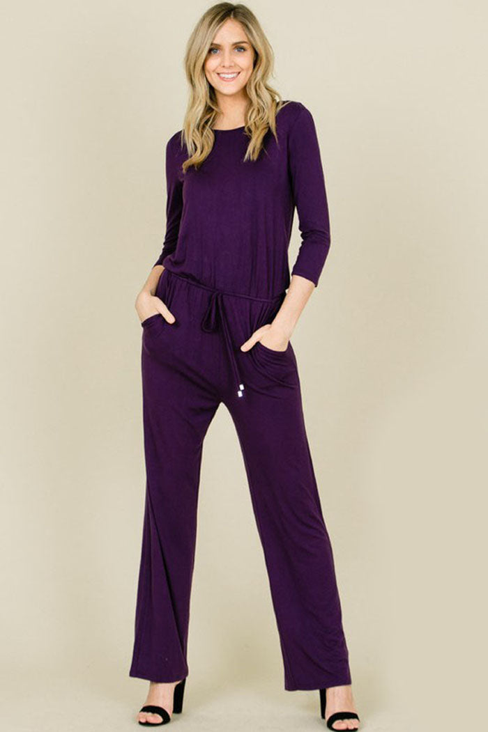 b817432f9170 Chloe 3 4 Sleeve Solid Jumpsuits   Slate – GOZON Boutique