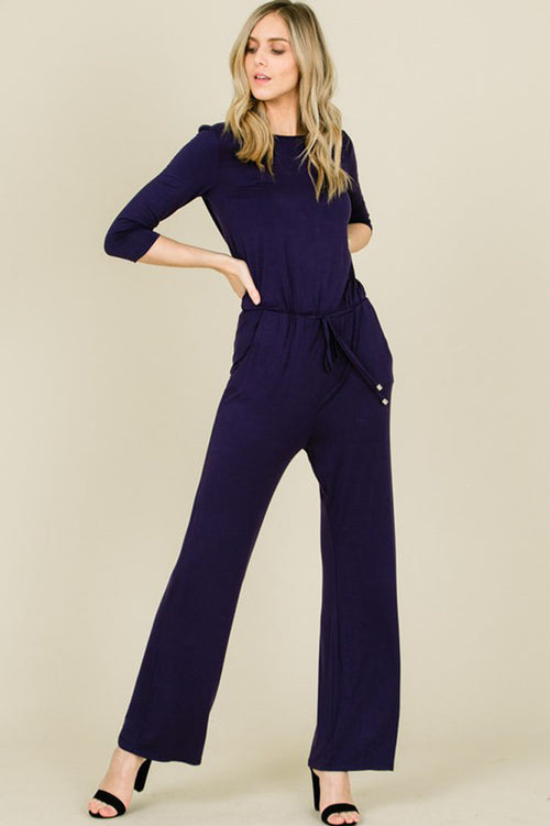Chloe 3/4 Sleeve Solid Jumpsuits : Navy