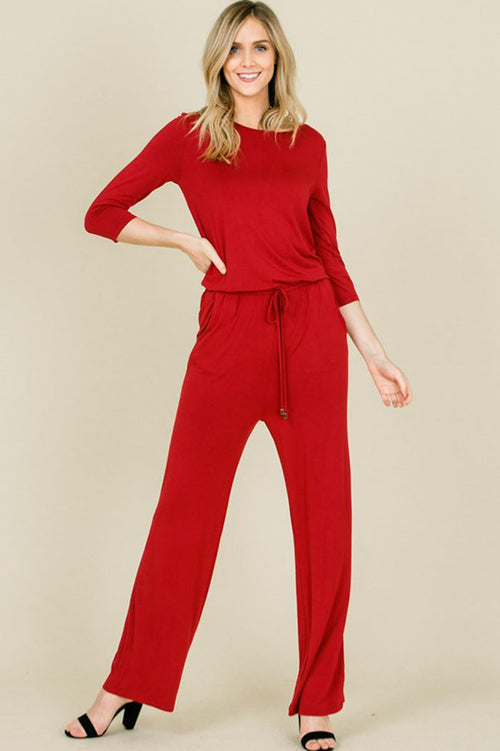 Chloe 3/4 Sleeve Solid Jumpsuits : Red