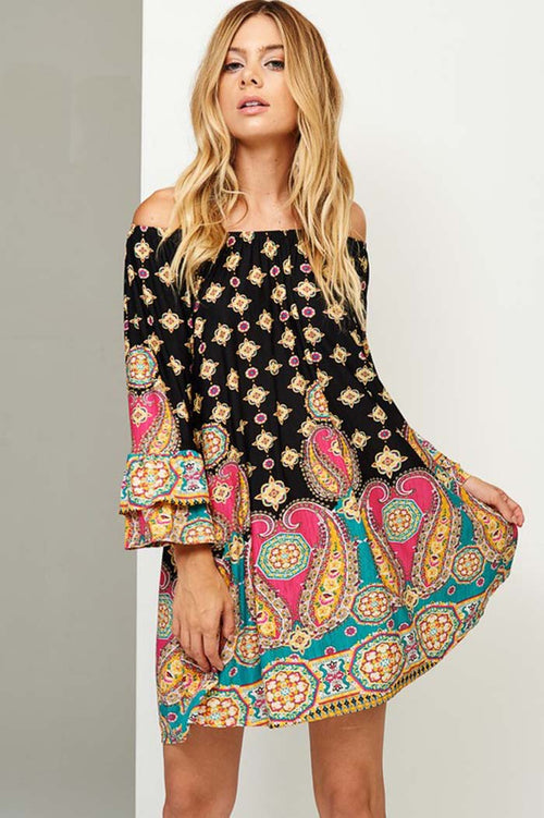 Chloe Paisley Swing Dress : Black