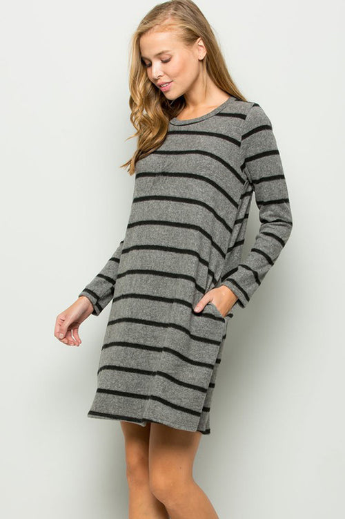 Clara Stripe Swing Dress : Charcoal/Black