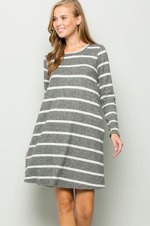 Clara Stripe Swing Dress : Grey/Ivory