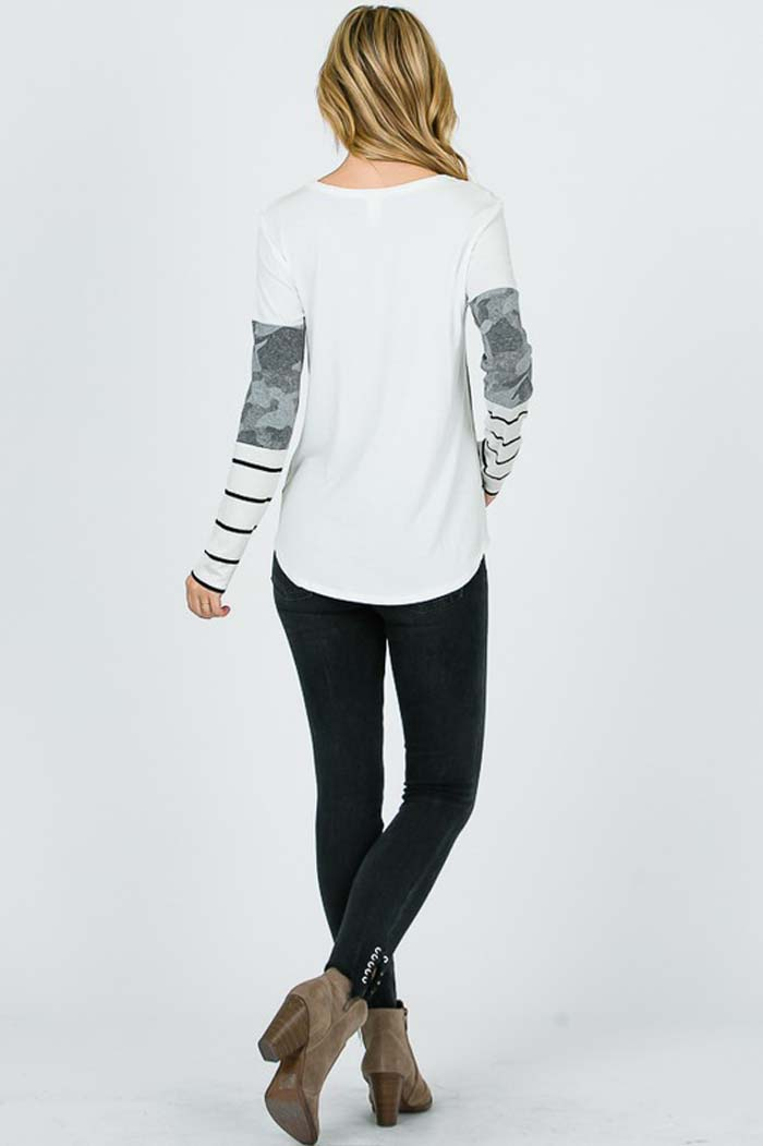 Daisy Color Block Shirt : Ivory/Charcoal