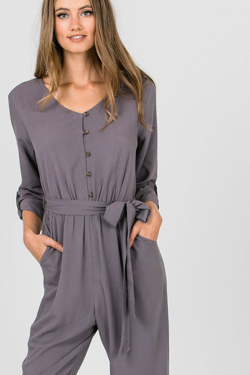 Debbie Button Up Waist Tie Jumpsuit : Grey