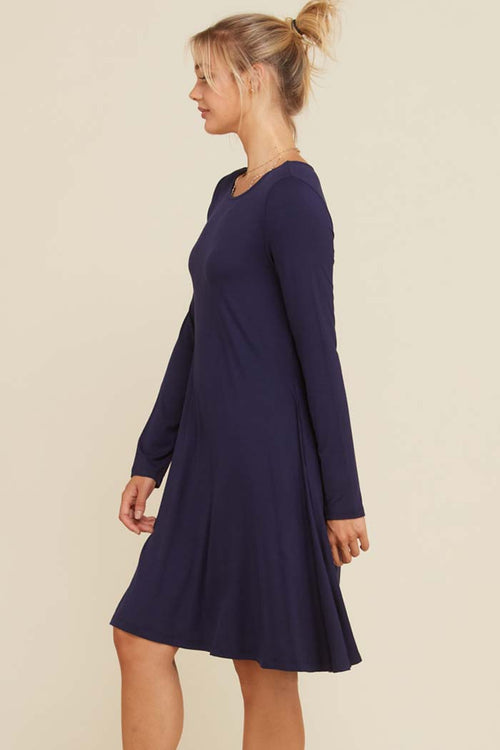 Dena Solid A-Line Swing Dress : Navy