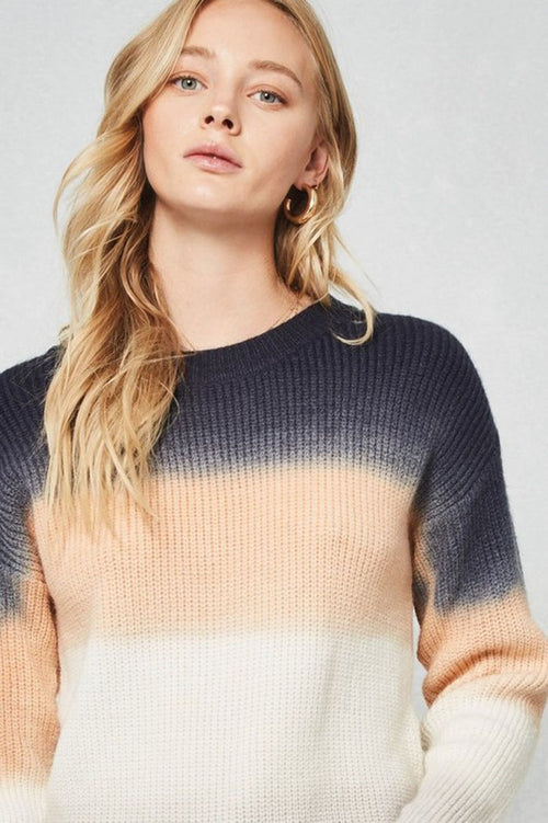 Elise Ombre Color Block Sweater Top : Navy Multi