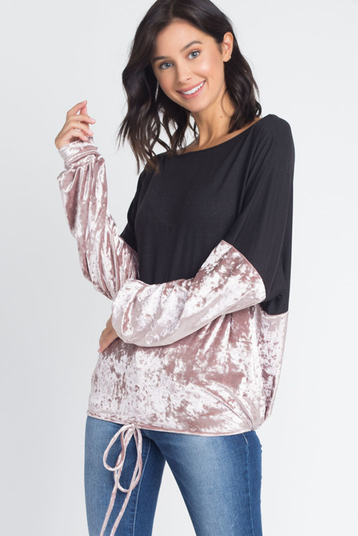 Emily Velvet Color Block Dolman Top : Rose Gold