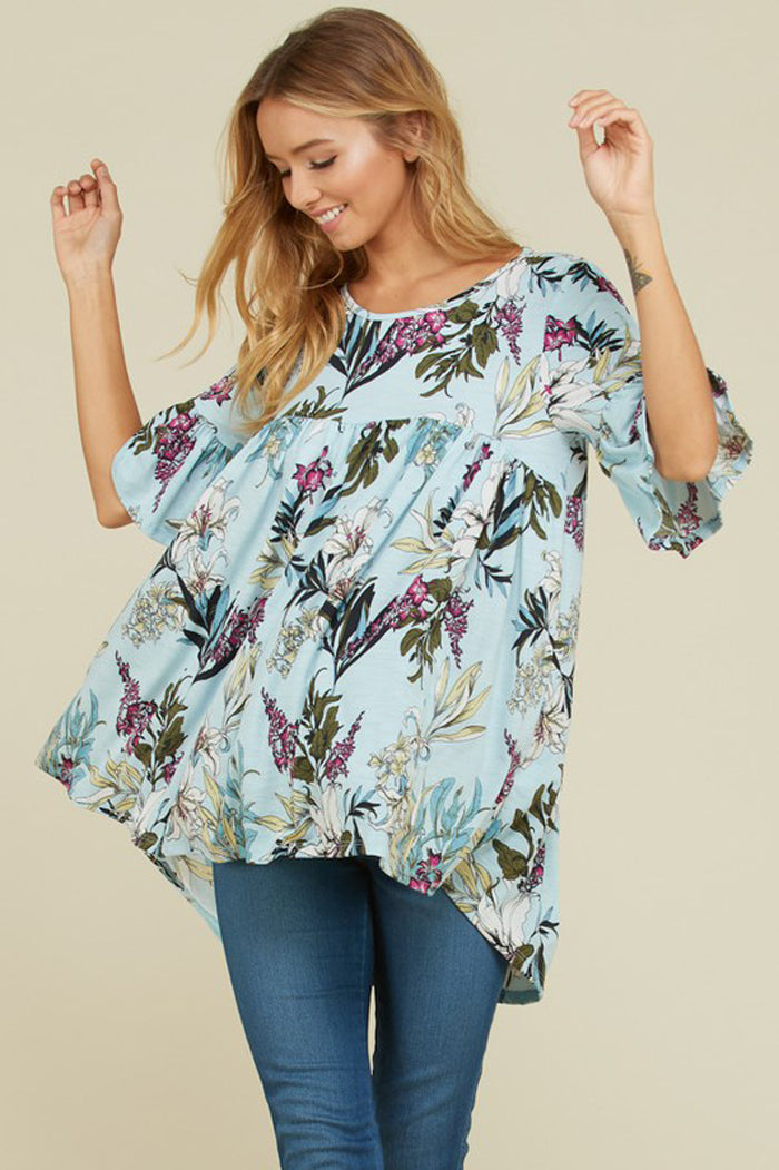Emma Floral Loose Tunic : Blue