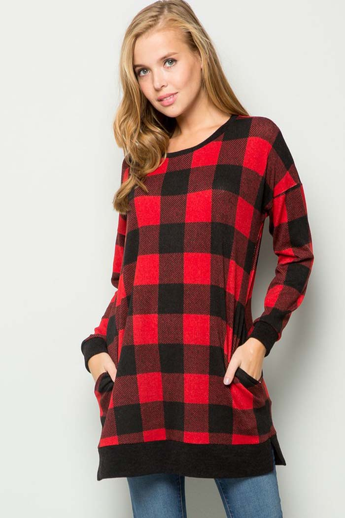 Esther Plaid Sweater Tunic Top : Black/Ivory