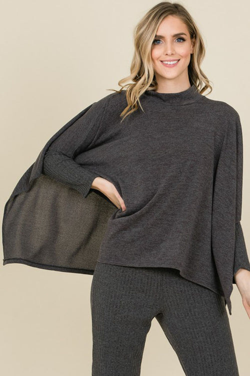 Gloria Dolman Sleeves Uneven Caped Top : Grey
