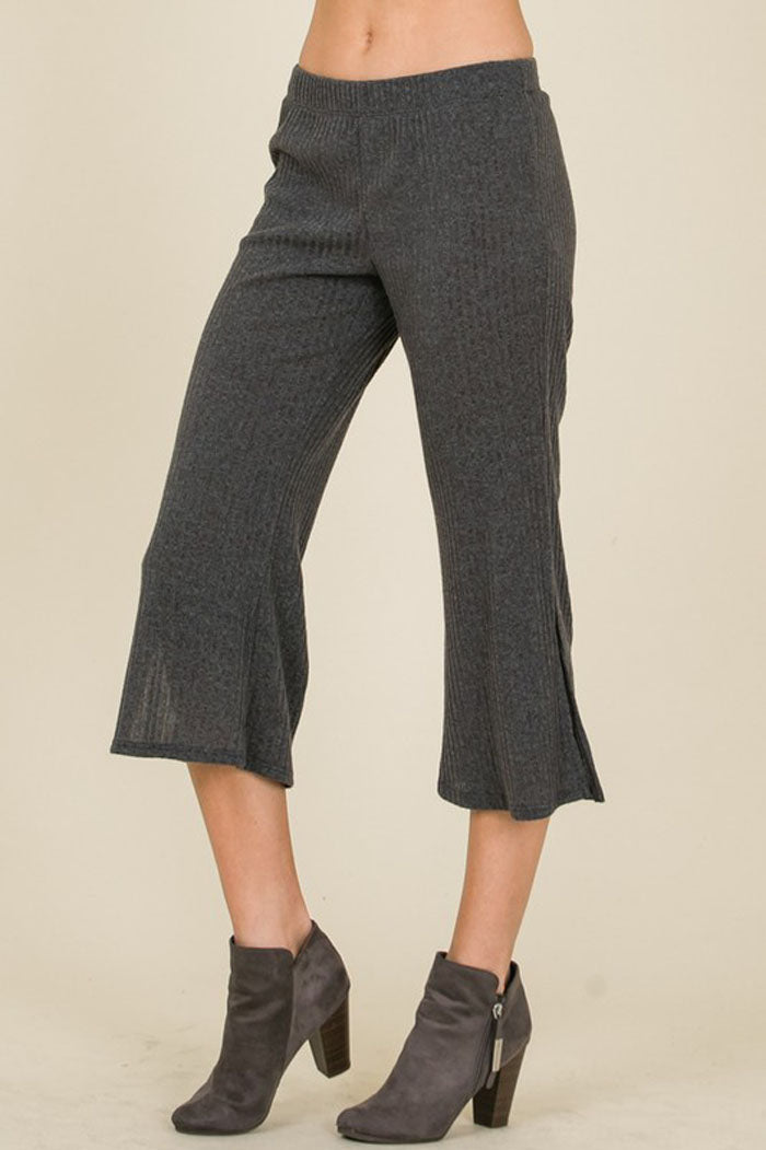 Gloria Ribbed Hacci Flare Pants : Grey