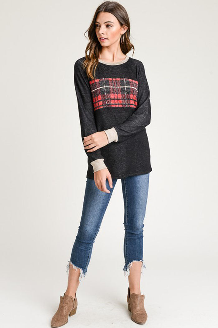 Hazel Plaid Pullover Top : Black