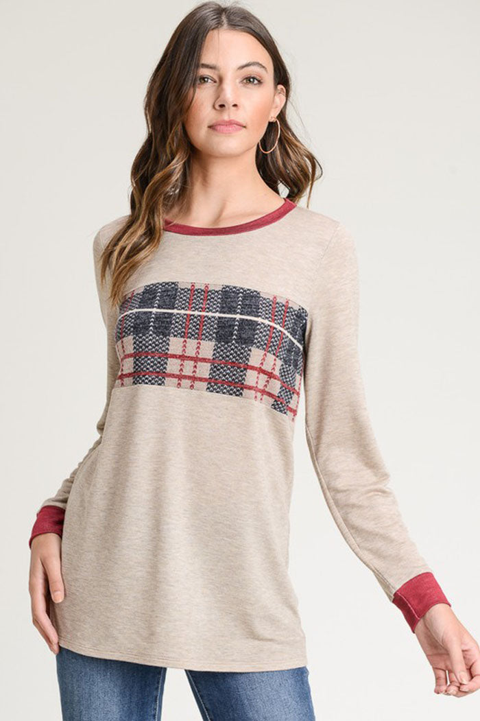 Hazel Plaid Pullover Top : Grey