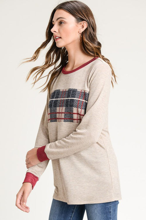 Hazel Plaid Pullover Top : Oatmeal