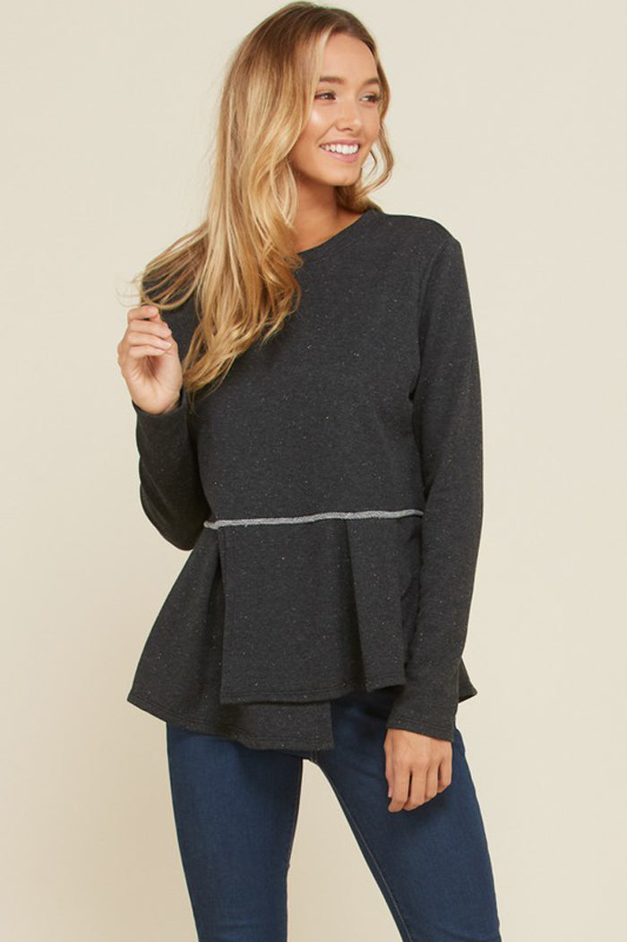 Heather Flouncy Pleated Hem Solid Top : Black