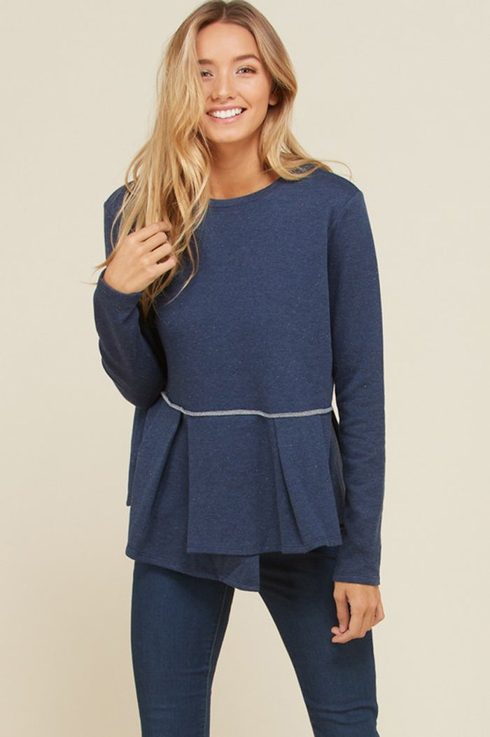 Heather Flouncy Pleated Hem Solid Top : Navy
