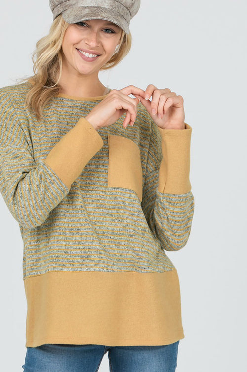 Heidi Color Block Stripe Front Pocket Top : Mustard