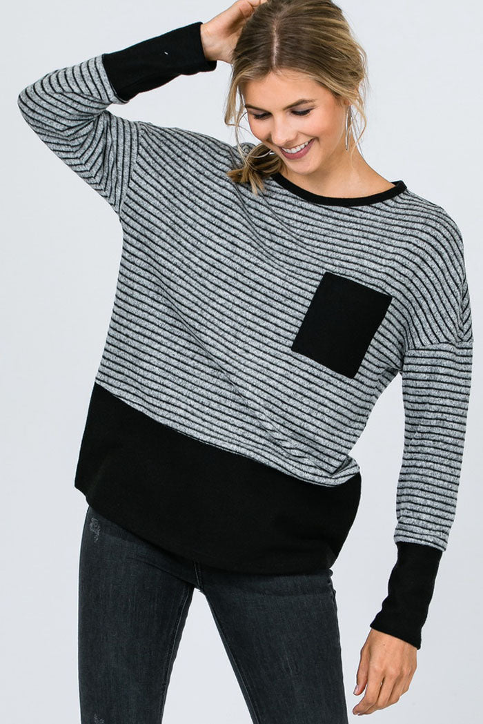 Heidi Color Block Stripe Front Pocket Top : Black