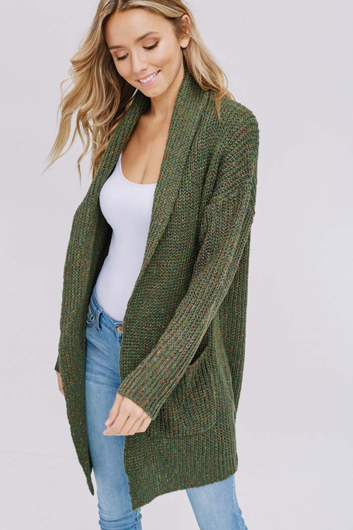 Heidi Essential Sweater Cardigan : Olive