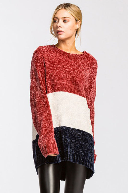 Hina Color Block Velvet Texture Soft Sweater : Burgundy