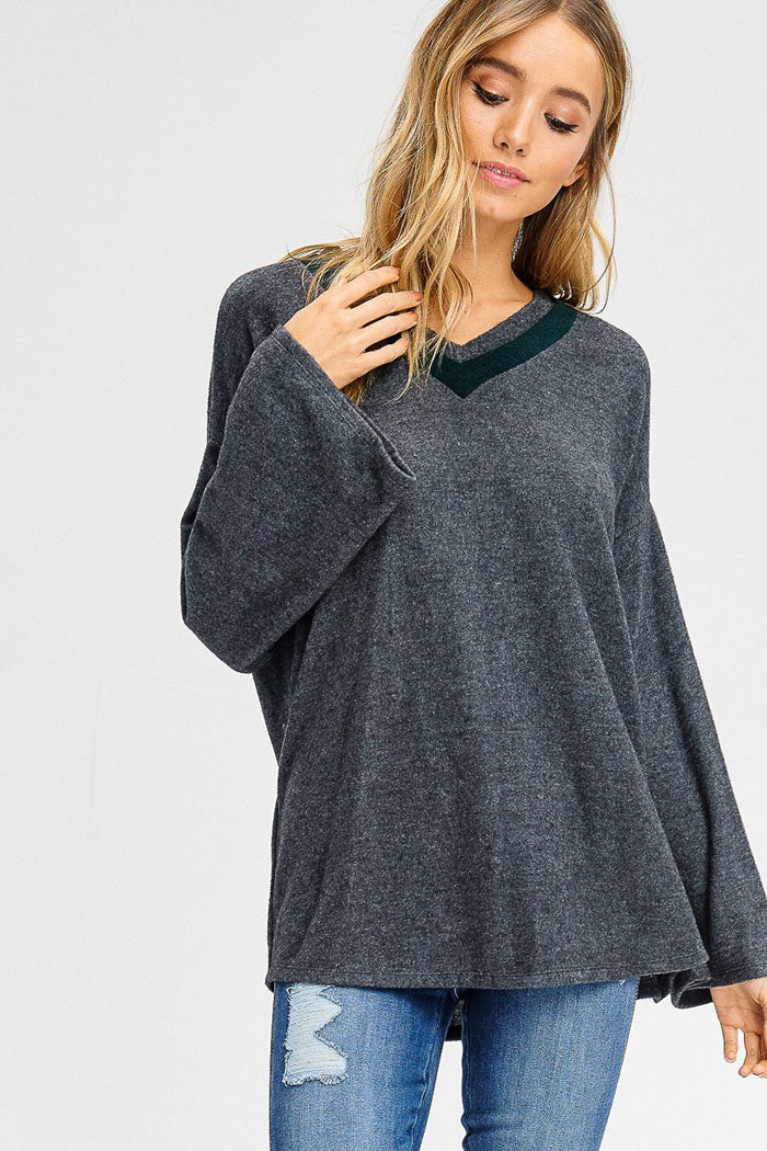Holly Contrast V-Neck Bell Sleeve Top : Charcoal