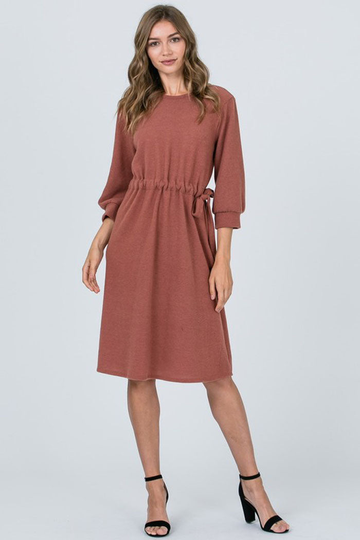 Holly Solid Waist Tie Babydoll Dress Rust Gozon Boutique