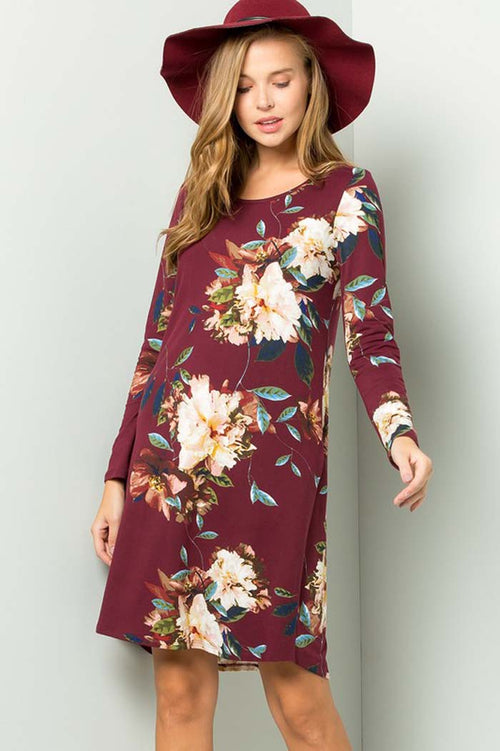 Isabella Floral Party Dress : Burgundy