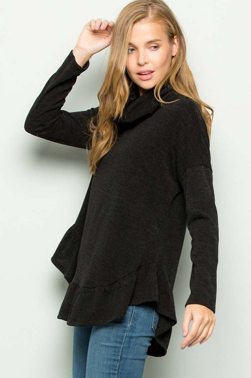 Ivy Sweater Turtle Neck Top : Black