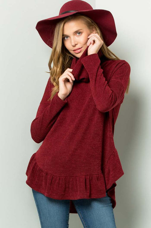 Ivy Sweater Turtle Neck Top : Burgundy