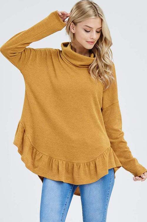 Ivy Sweater Turtle Neck Top : Mustard
