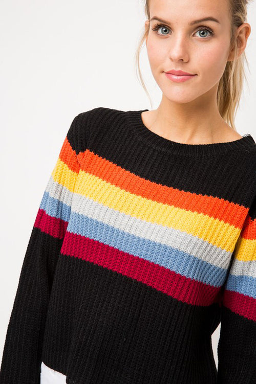 Jamie Rainbow Stripe Sweater : Black