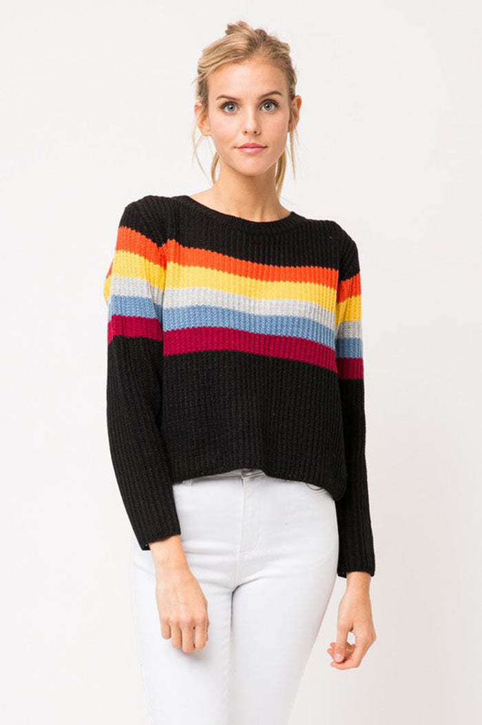 3ed3cd8c027 Jamie Rainbow Stripe Sweater   Black – GOZON Boutique