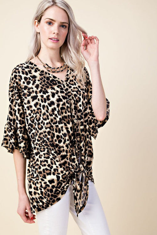 Jane Leopard Button Down Top : Brown