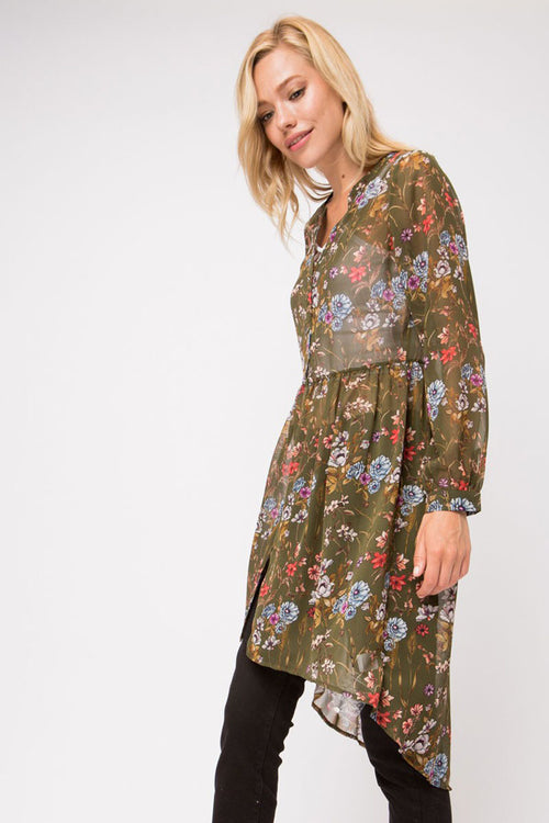 Jenna Floral Button Down Sheer Dress : Olive