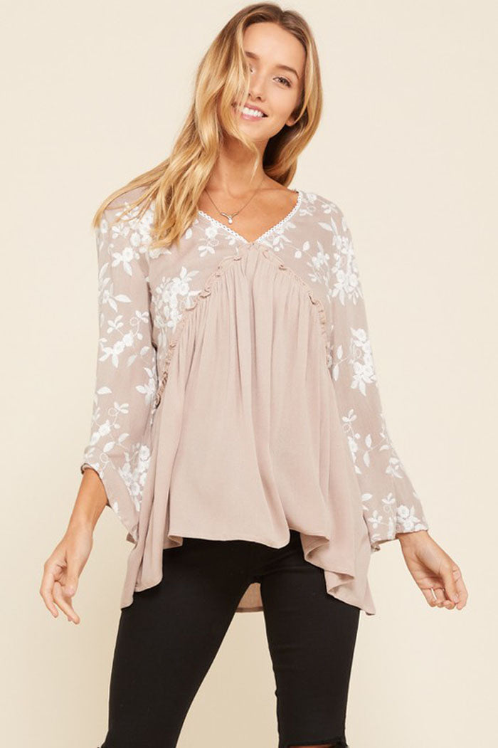 Jennifer Floral Embroidered Tunic Top : Mocha